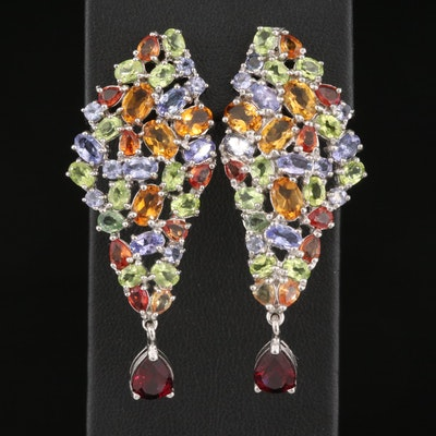 Sterling Garnet, Citrine and Tanzanite Cluster Earrings