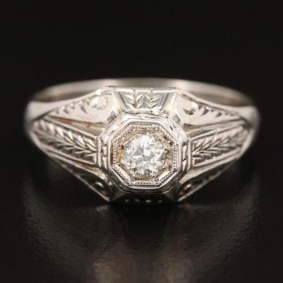 14K Diamond Ring with Laurel Leaf Detail