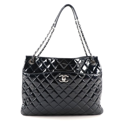 Chanel CC Trio Zip Tote in Navy Blue Patent Leather