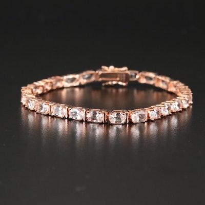 Sterling Silver Morganite Link Bracelet