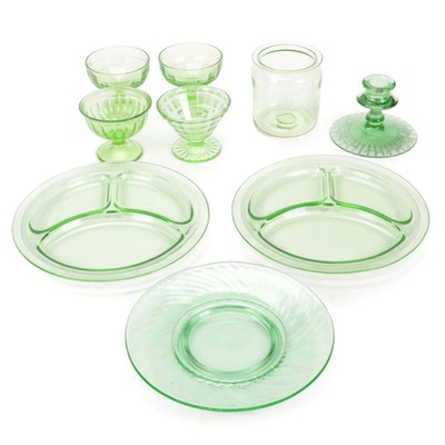 Hocking Glass, Federal and Other Green Depression Glass Tableware