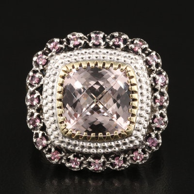 Sterling Morganite and Topaz Ring