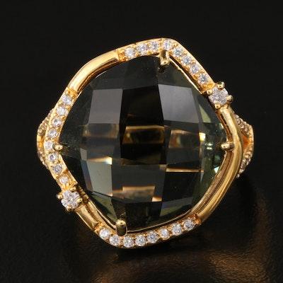 Quartz and Cubic Zirconia Ring