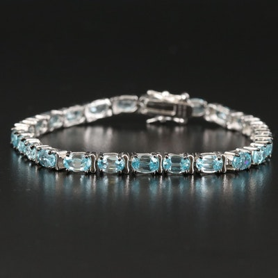 Sterling Silver Zircon Link Bracelet