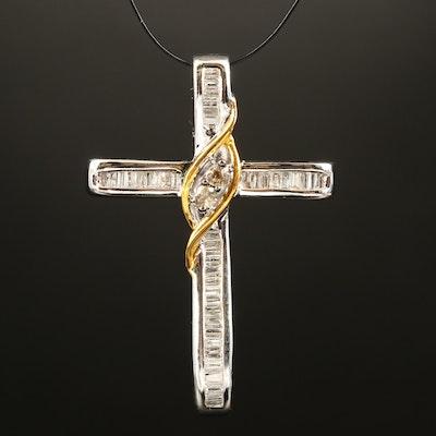 Sterling Diamond Cross Pendant