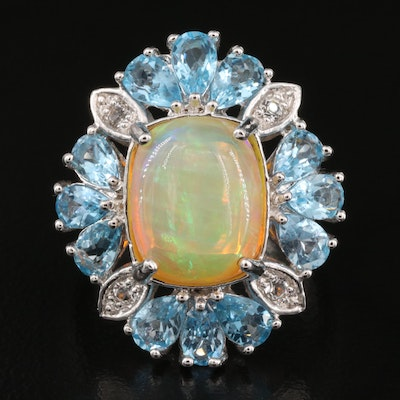 Sterling Opal and Topaz Ring