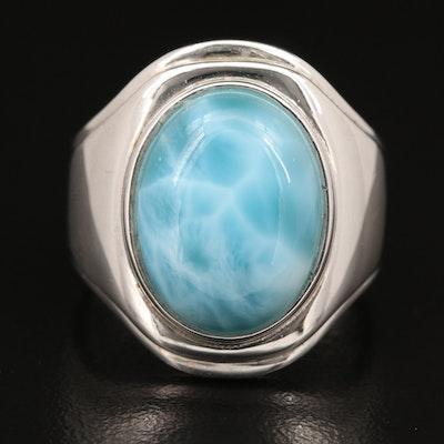 Sterling Larimar Bezel Ring