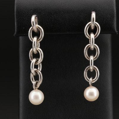 Sterling Pearl Chain Drop Earrings