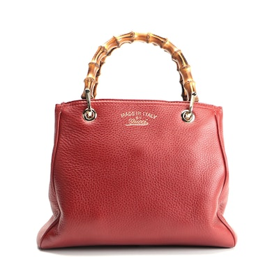 Gucci Bamboo Red Grained Leather Handbag