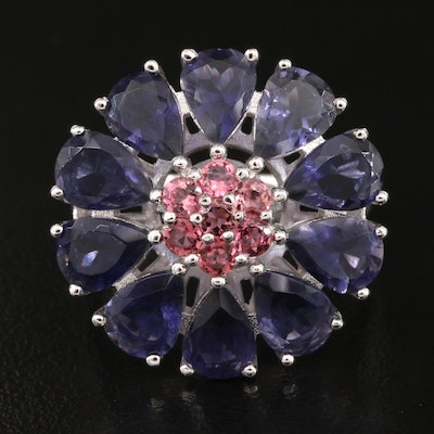 Sterling Iolite and Tourmaline Ring