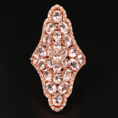 Sterling Morganite and Zircon Oblong Ring