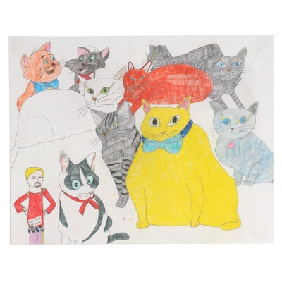 Sean Traynor Outsider Art Colored Pencil Drawing of Cats