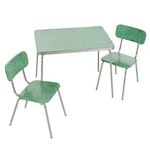 Mid Century Modern Child's Chrome and Vinyl Dining Table and Chair Set