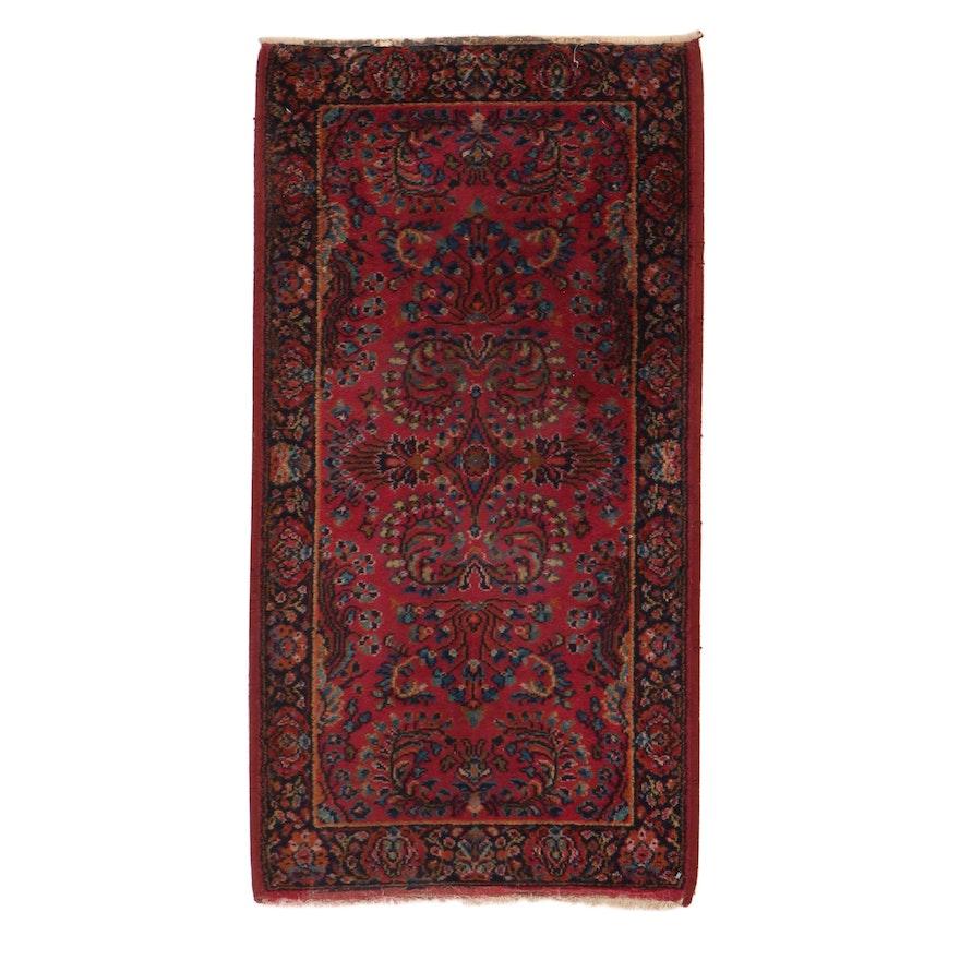 2'1 x 4' Hand-Knotted Karastan Persian Sarouk Rug, 1980s