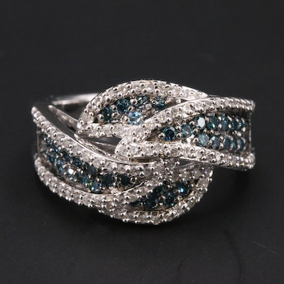 Diamond Wave Ring in Sterling