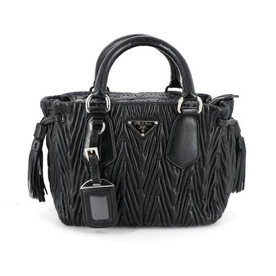 Prada Small Two-Way Handbag in Black Matelasse Leather with Drawstring Tassels