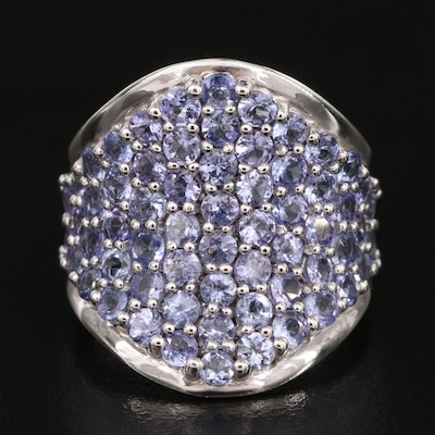 Sterling Tanzanite Concave Tapered Band