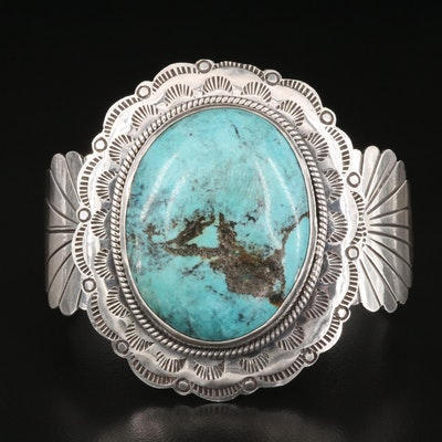 Southwestern Sterling Turquoise Cuff with Stampwork