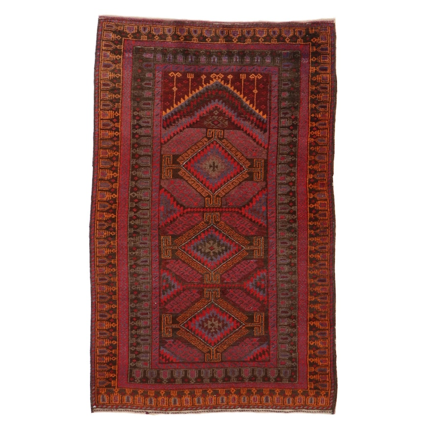 2'9 x 4'5 Hand-Knotted Persian Balouch Rug, 1960s