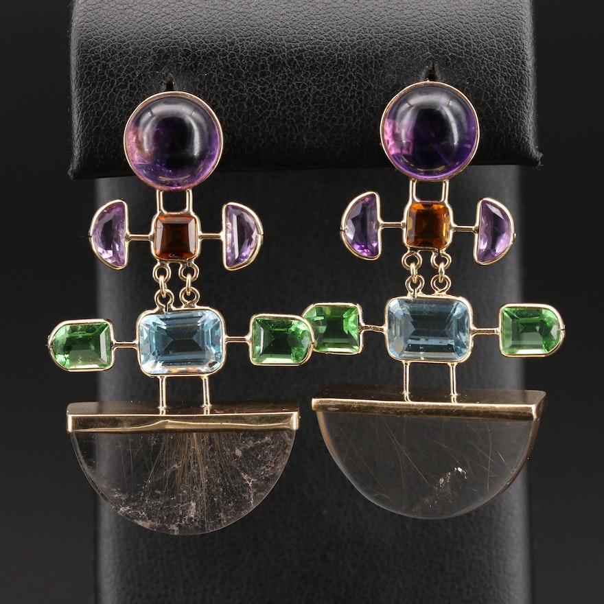 Vintage 14K Rutilated Quartz and Gemstone Drop Earrings
