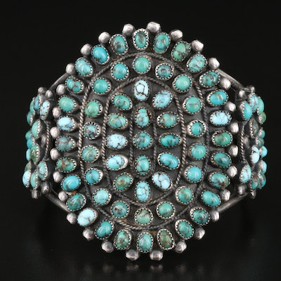 Vintage Southwestern Sterling Turquoise Petit Point Cuff