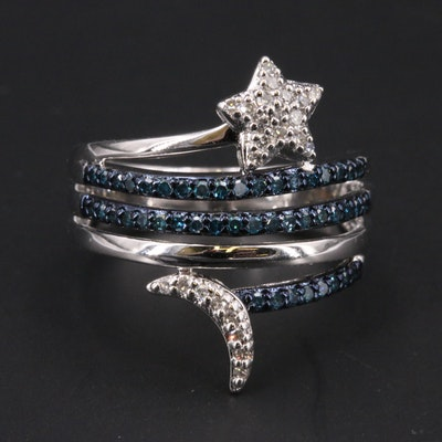 Sterling Silver Diamond Star and Moon Ring