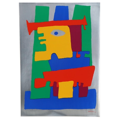 Abstract Figural Serigraph After Jacques Soisson, 1977
