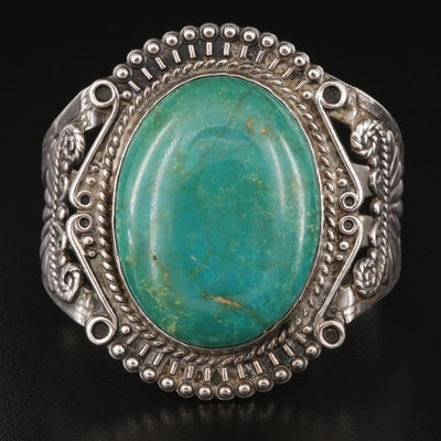Vintage Southwestern Sterling Turquoise Cuff