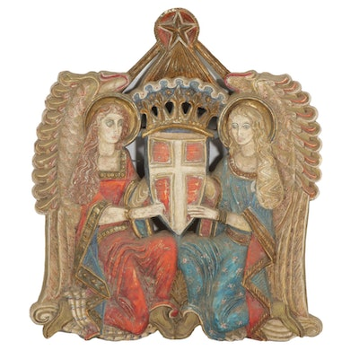 Plaster Casting of Angels Kneeling with Crusaders Shield, Mid-20th Century