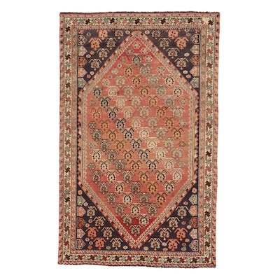 4'8 x 7'8 Hand-Knotted Persian Shiraz Rug, 1970s