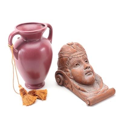 Royal Haeger Pottery Amphora Shaped Vase with Other Figural Cast Plaster Corbel