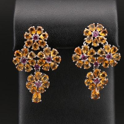 Sterling Silver Citrine and Garnet Floral Drop Earrings