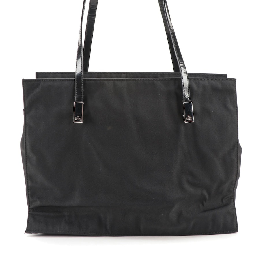 Gucci Tote Bag in Black Nylon Canvas and Patent Leather