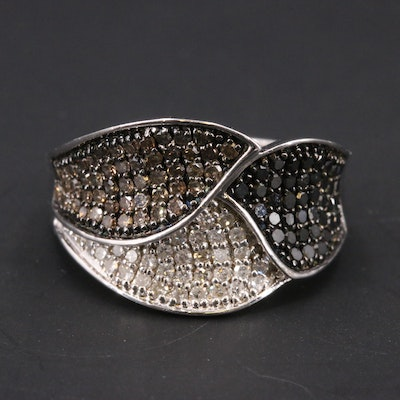 Sterling Diamond Leaf Patterned Ring Including Brown and Black Diamonds