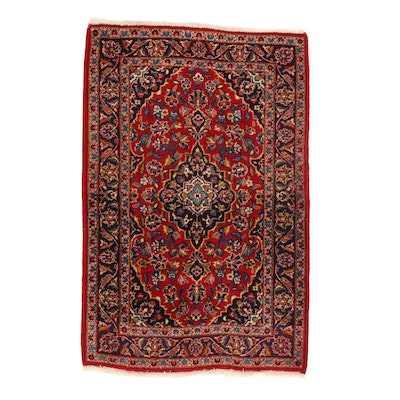 3'2 x 5' Hand-Knotted Persian Kashan Rug, 1980s