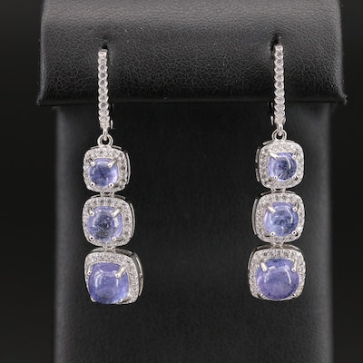 Sterling Silver Tanzanite and Cubic Zirconia Tiered Drop Earrings
