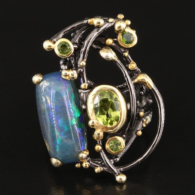 Sterling Opal and Peridot Abstract Ring