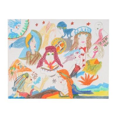 Wendy Davis Folk Art Mixed Media Drawing of Mythical Figures
