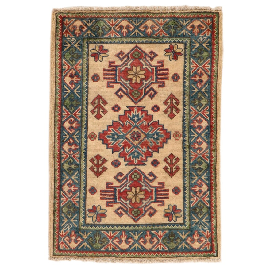 2'1 x 3'1 Hand-Knotted Afghan Caucasian Kazak Rug, 2010s