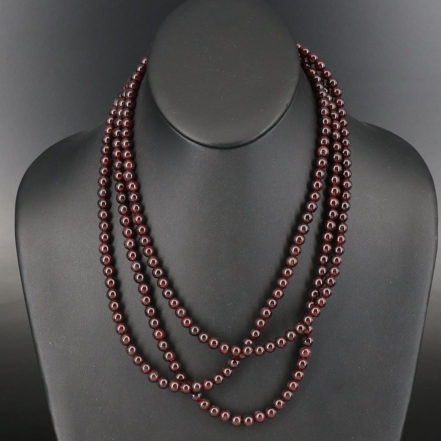 Garnet Triple Strand Necklace with Sterling Clasp