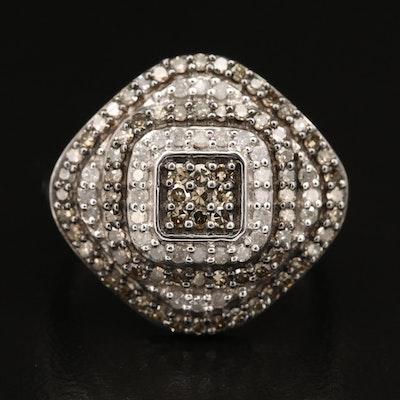 Sterling Colored Diamond Pavé Ring