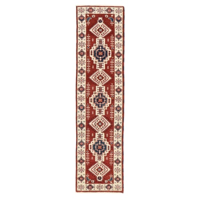 2'7 x 9'11 Hand-Knotted Indo-Caucasian Kazak Carpet Runner, 2010s