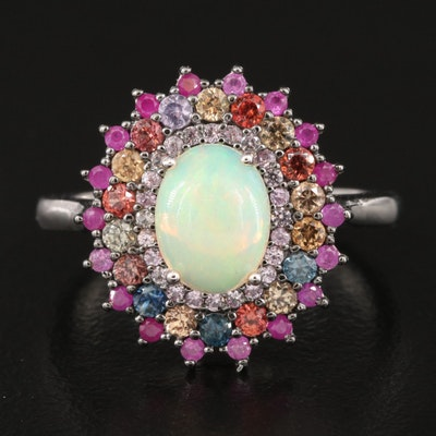 Sterling Opal, Sapphire and Ruby Ring