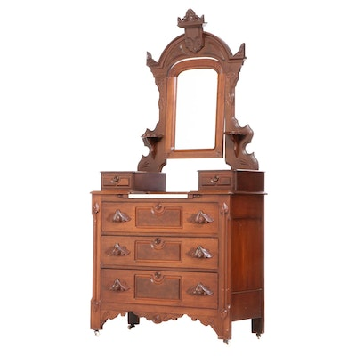 Victorian Walnut Chest with Mirror, Late 19th Century