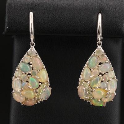 Sterling Silver Opal and Sapphire Teardrop Earrings