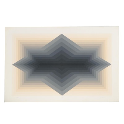 "Jurgen Peters Op Art Serigraph ""Spur,"" 1981"