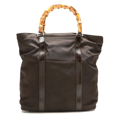 Gucci Bamboo Handle Tote in Brown Nylon Canvas and Patent Leather