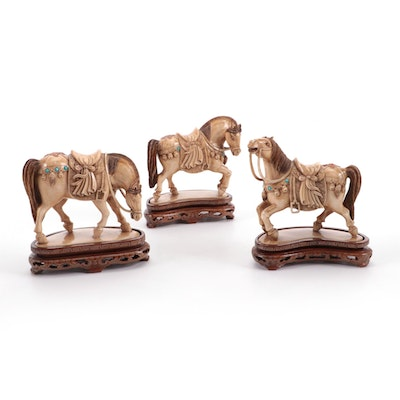 Chinese Cast Resin Tang Style Horses on Stands