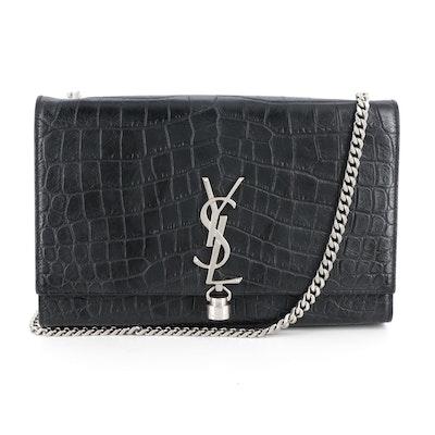 Yves Saint Laurent Kate Black Croc-Embossed Leather Shoulder Bag