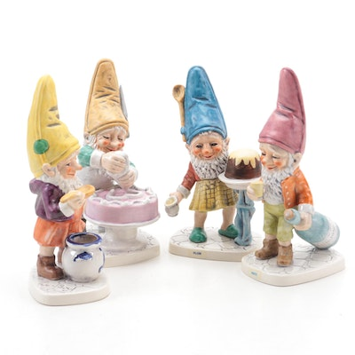 """Goebel """"Fritz The Wine Merchant"""" and Other Co-Boy Gnome Porcelain Figurines"""